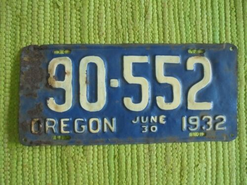 1932 Oregon License Plate 32 OR Tag 90-552