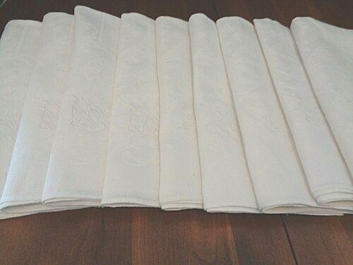 Collection of 9 Antique Irish 100% linen damask napkins Initials eKv