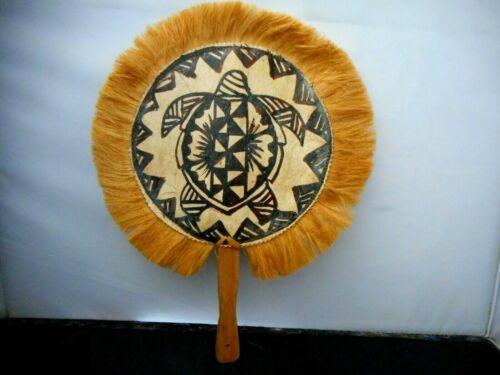 "Polynesian Hawaiian Souvenir Tapa Bark Cloth Fan w/ Grass Trim 12x15"" #2"