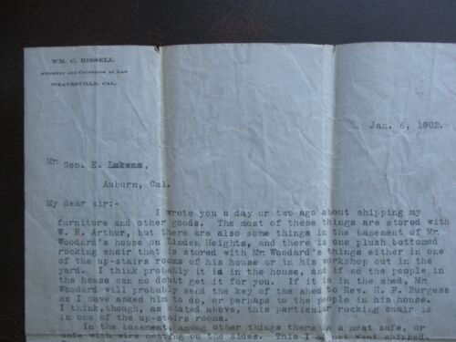 1902 William C. Bissell (Attorney at Law) Weaverville,California signed letter!