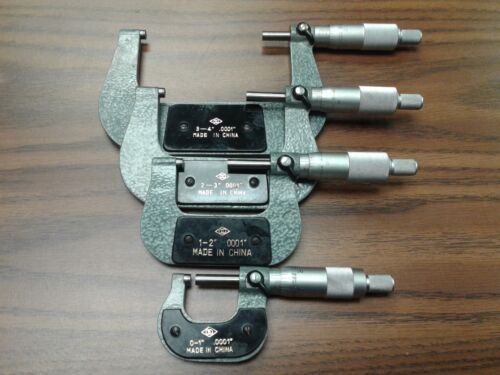 """0-4"""" Precision outside micrometer 4pcs/set 0.0001"""" carbide tipped standards-new"""