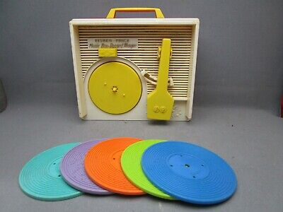 1971 Fisher-Price Music Box Record Player #995 Complete with 5 Records Works