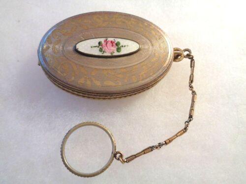 Vintage Art Deco Silver & Enamel, Rose, Finger Ring Chain Compact