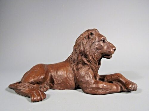 Red Mill MFG Handcrafted Recumbent Lion Brown Resin Figure Figurine Made in USA