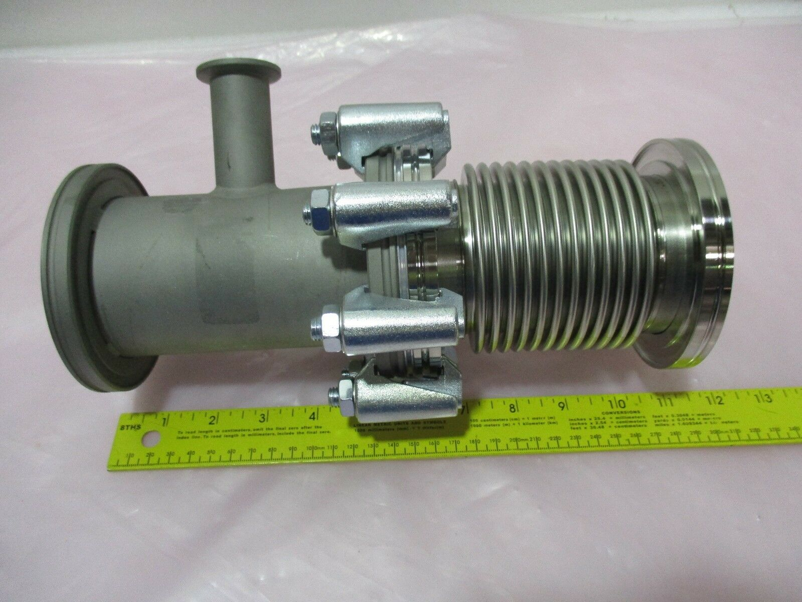Vacuum Flange w/ KF16 Connection and ISO Bellows Flange for Vacuum Pump, 420911