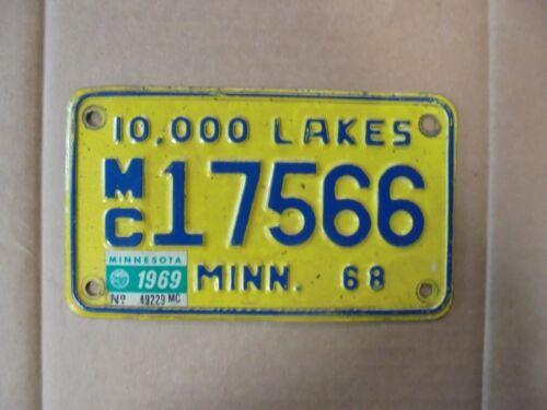 1968 Minnesota Motorcycle License Plate *MC17566*