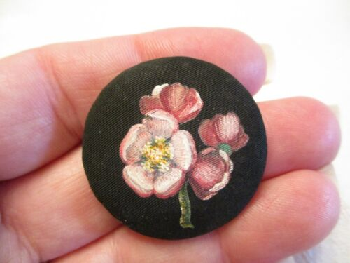 EARLY Antique MAGNOLIA Flower PAINTING on FABRIC Victorian CLOTHING BUTTON
