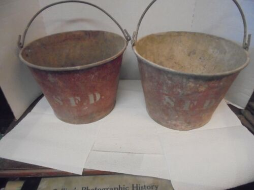 2 red painted galvanized metal buckets S.F.D. stout fire department iowa pails