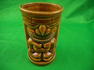 Vintage Orchids of Hawaii Tiki Mug, Angry Tiki God Made in Japan, Brown