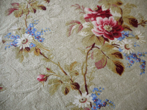 Antique French Floral Roses Forget me Not Daisy Cotton Fabric  ~Rose Olive Blue