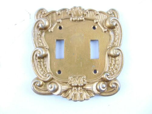 Vintage Brass Double Light Switch Cover