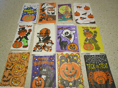 Halloween Paper Candy Bags (12 Vtg Halloween Paper Trick or Treat Candy Bags /  Treat Bags ASSORTED FUN)