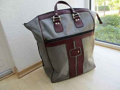 Stabile Reisetasche Kunstleder-Griffen grau-bordeaux Vintage 40cm x 23,5 x 55cm