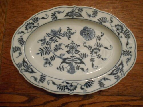 "BLUE DANUBE 12"" Oval Serving Platter - Rectangle Mark Blue Onion Unused 3022"