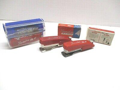 3 Vintage Red Swingline Tot 50 Staplers Case 2 Full Boxes Of Tot 50 Staples