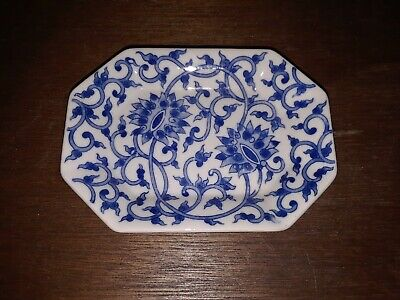 Small Dish Blue Flow White Jewelry Trinket Sauces Spices Cooking Decorative 5""