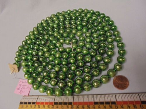 "Christmas Garland Mercury Green 90"" Long 7/16"" Beads #AL35 Vintage"