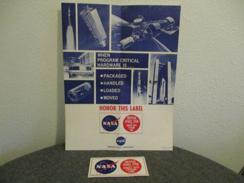 RARE NASA MSFC APOLLO CRITICAL SPACE ITEM MANNED FLIGHT AWARENESS POSTER & LABEL