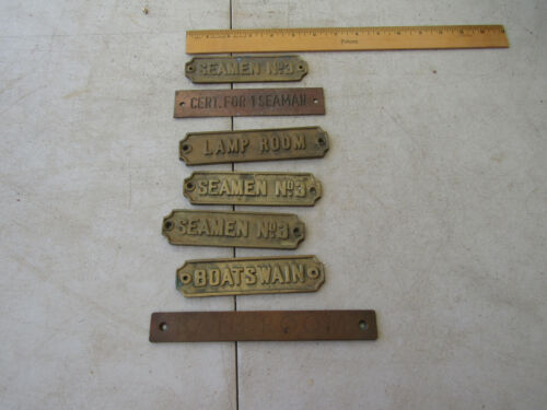 LOT H-27- BRASS DOOR ID PLATES FOR SHIP - MARITIME NAUTICAL SEAMAN BOATSWAIN +