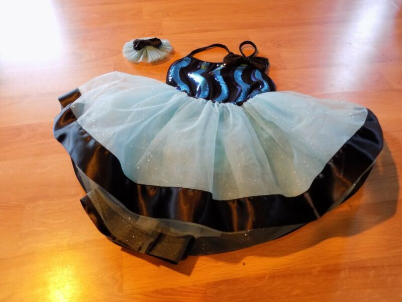 Child Size Medium Weissman Light Blue Black Sequined Dance Tutu Leotard Dress