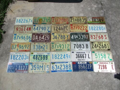 30 Indiana license plate lot for collecting or decorating man cave # 1