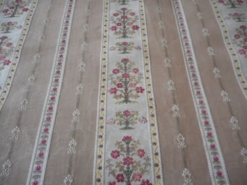 Vintage French Lisere Floral Stripe Jacquard Brocade  Fabric ~ Rose Fawn Taupe