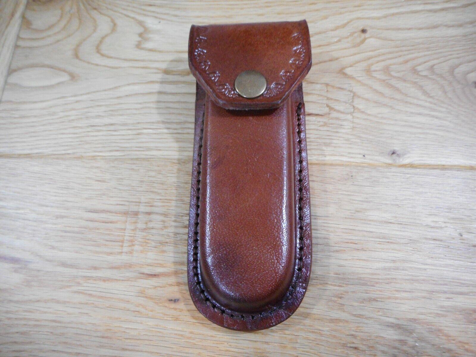 Heavy Duty Brown leather knife case- sheath - holds folding