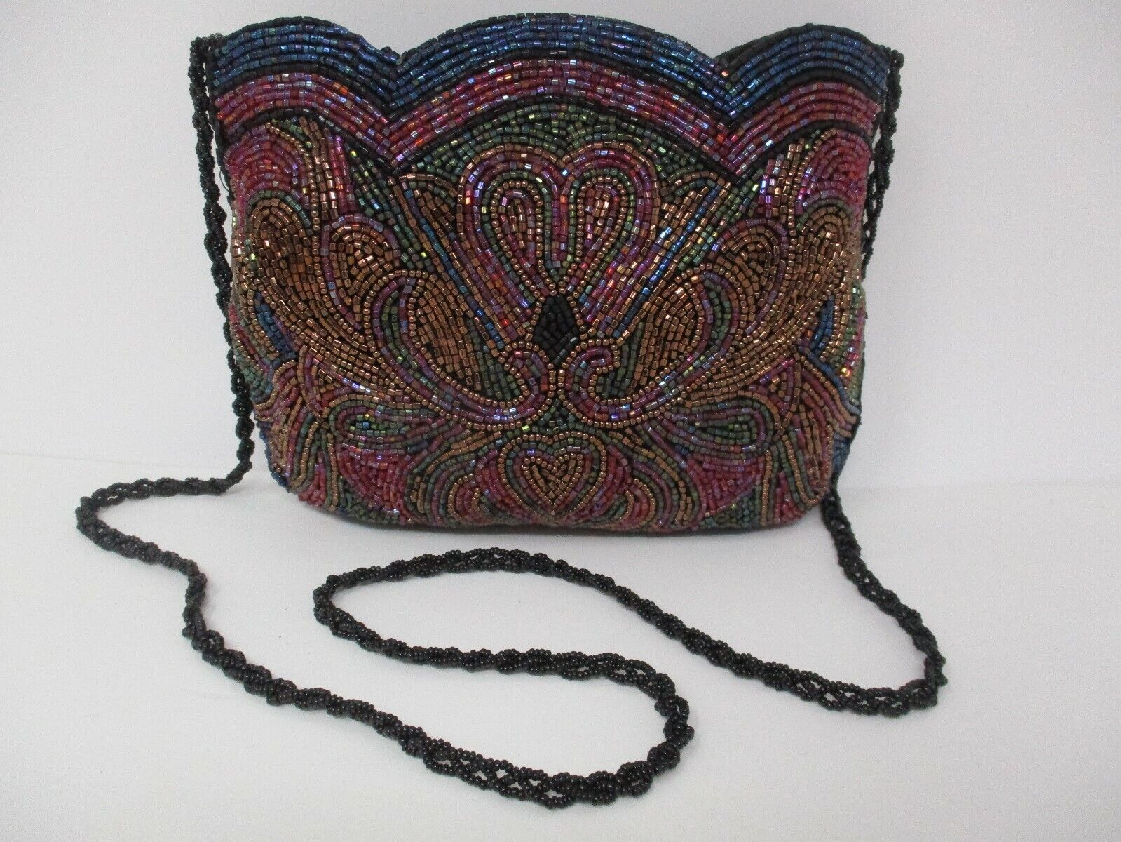 Vintage Metallic Mosaic Beaded Small Purse Shoulder Bag