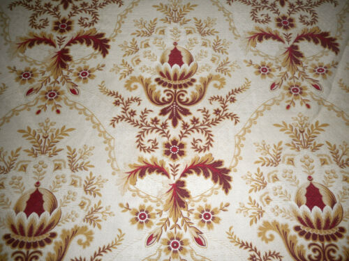 Antique French Acanthus Artichoke Floral Fabric~ Madder Red Bordeaux Tan
