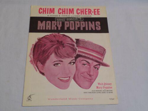 Walt Disney Mary Poppins Chim Chim Cher-ee Sheet Music Wonderland Julie Andrews