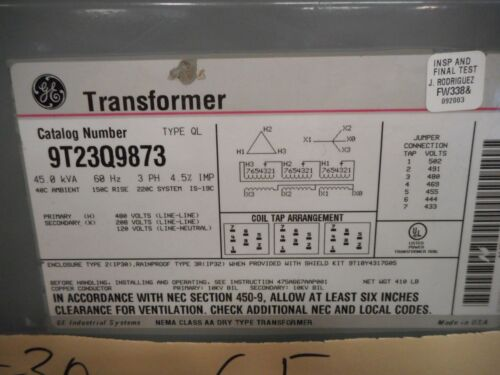 GE 45 K.V.A TRANSFORMER