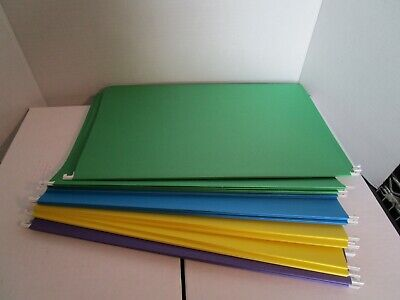 Legal Size Hanging File Folders Green Blue Yellow Purple Home Office Lot Of 19