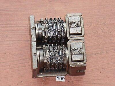 Letterpress Numbering Machine Lot Of 2- Model 30