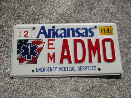 Arkansas 2014 Emergency Medical Services license plate # ADMO