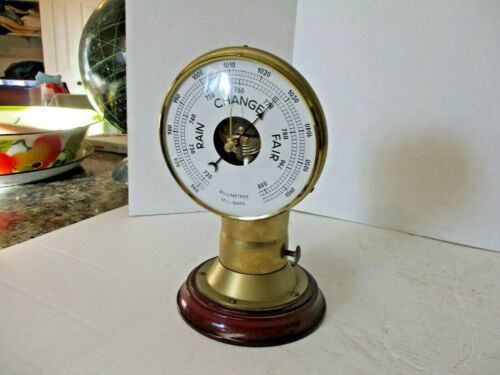 vtg Foresti & Suardi brass boat cowl vent with barometer