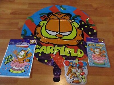 Garfield Birthday Party Supplies 4pc Lot Party Express NOS Multi-color