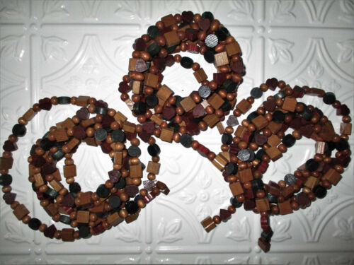 Vintage 3-9ft Strands Wooden Garland Hearts Green & Natural Beads Christmas 27ft
