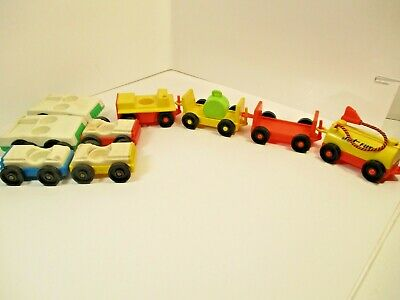 vintage Fisher Price Little People Lot Airport Tram Luggage Cart Gas Tanker cars