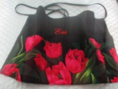 Server Waitress Apron Red Flowers 3 Pocket Name FREE Lady -