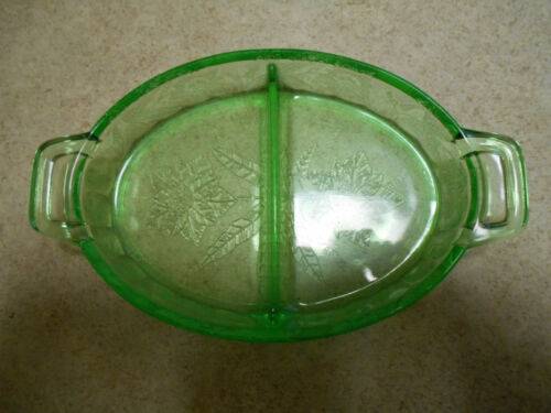 Vintage Green Dep Glass divided relish poinsettia pattern Jeanette Glass Co.