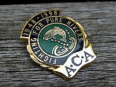 Old ANGLERS CONSERVATION ASSOC. A.C.A. 1948-98 Enamel Fishing Angling Pin Badge