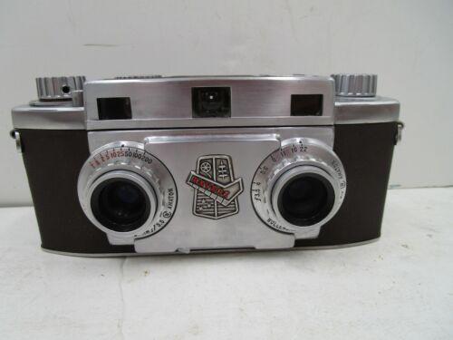 Revere 33 35mm 3D Stereo Camera W/ Wollensak 35mm f/3.5 Lenses V-186-19 w/case