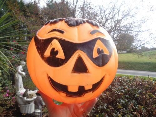 Vtg Lighted Halloween Blow Mold Plastic Jack O Lantern Masked Pumpkin Decoration