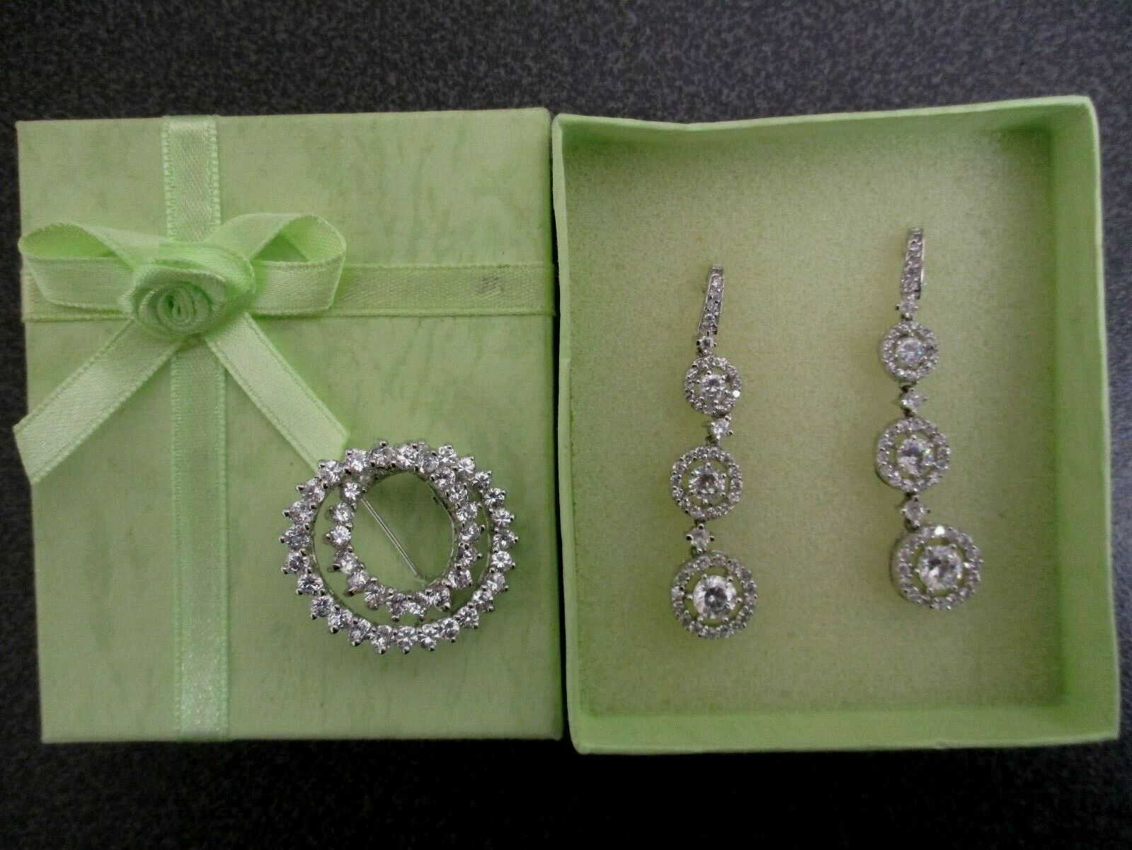 Crystal Rhinestone Drop Earrings and Brooch Pin Set