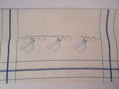 Vintage Embroidered Hand Tea Dish Kitchen Towel Blue White w/Tea Cups 1940-1950