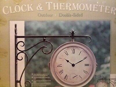 Outdoor Metal Double Face Weather Gauge Clock Analog - Outdoor Metal Weather Clock