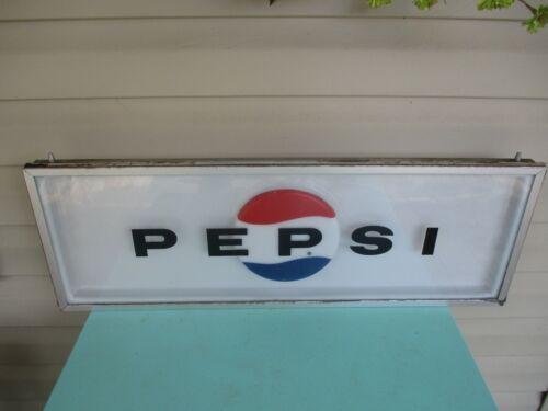Vintage ADVERTISING PEPSI COLA MACHINE INSERT SIGN  FRAMED PLASTIC ESTATE FIND
