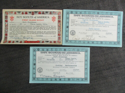 VINTAGE 1942 1943 BOY SCOUT AWARD CARDS from GHOST TOWN THREE SANDS, OKLAHOMA