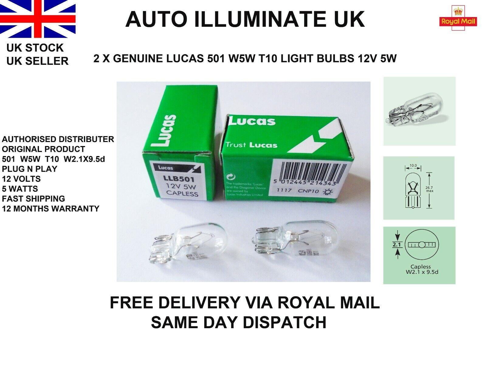 Car Parts - Lucas W5W T10 Car Capless Side Light Bulbs Lamp Indicator Wedge LLB501 12v 5w