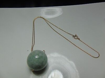 LARGE 24MM JADE JADEITE BEADS GRAD A  GOLD OVER  STERLING   SILVER NECKLACE